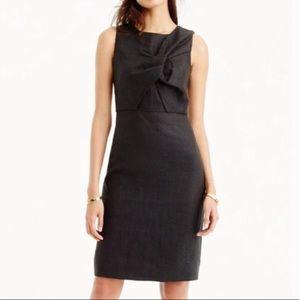 NWT J. Crew Black Linen Knot Front Sheath Dress 4T